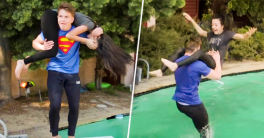 Este chico le practica a su novia maniobras mortales de lucha libre en una alberca