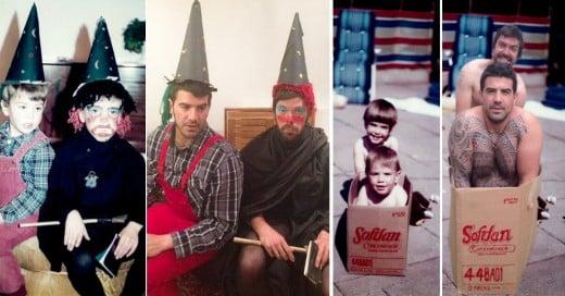 2 Hermanos recrearon fotos de su infancia para el aniversario de sus padres