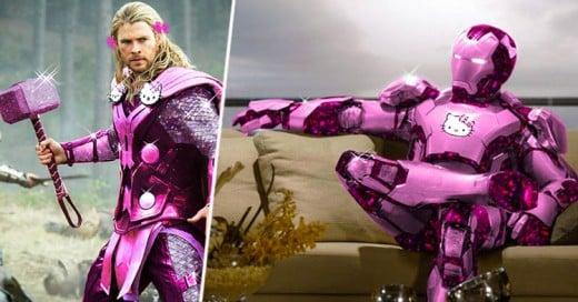 Así es como se verían los superhéroes si sus trajes fueran hechos por Hello Kitty