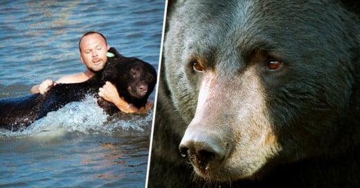 Vio un oso en peligro en el agua, lo que hizo es la cosa más ALFA que cualquier hombre puede hacer