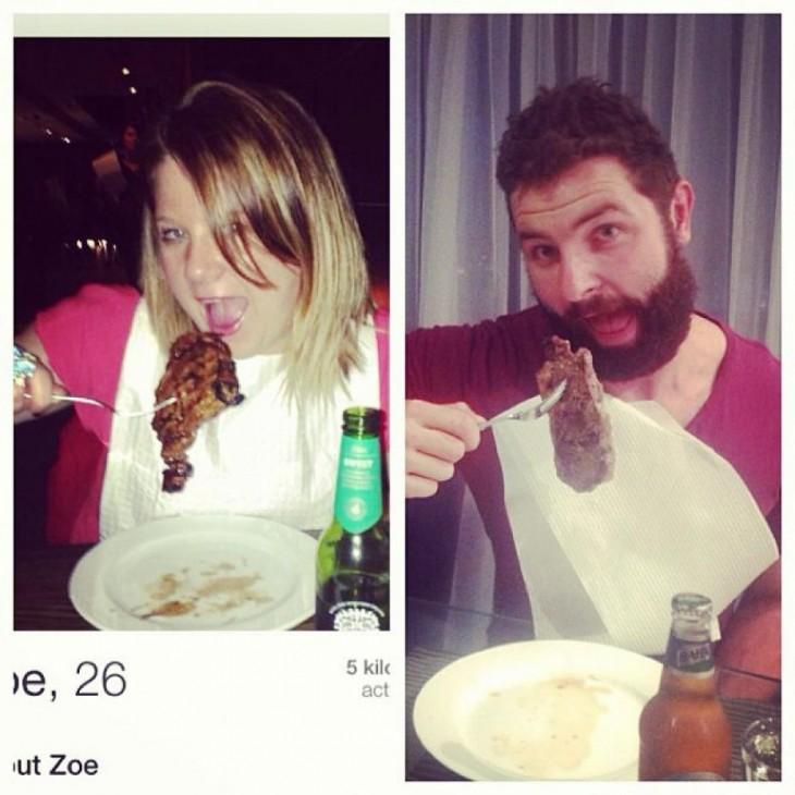 Hombre recrea fotos de mujeres en Tinder comiendo
