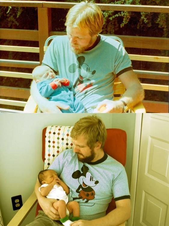 Padre e hijo iguales cargando bebé