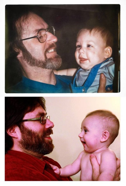 Padre e hijo cargando bebé 2