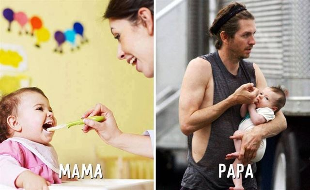 Diferencias entre mamá y papá dar de comer