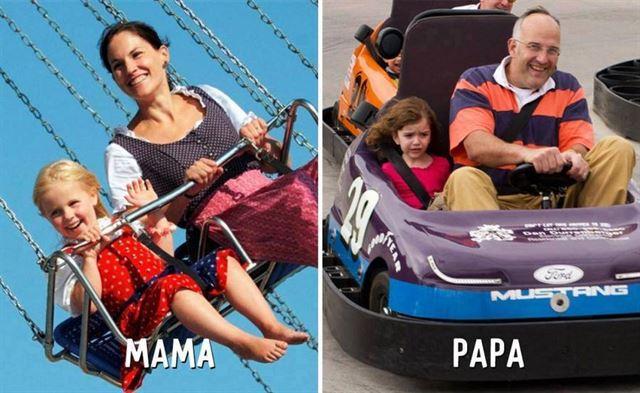 Diferencias entre mamá y papá juegos mecánicos