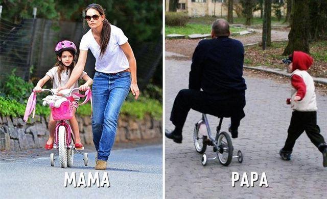 Diferencias entre mamá y papá bicicleta