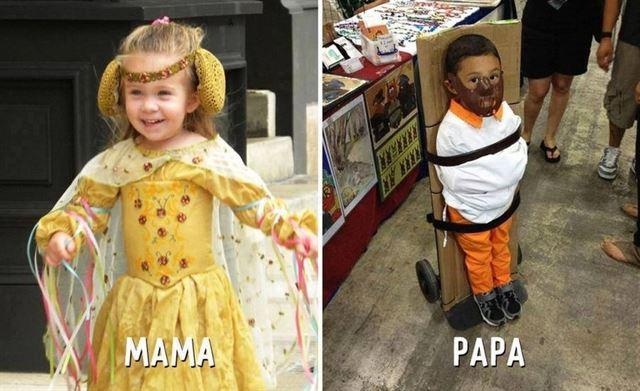 Diferencias entre mamá y papá disfraces