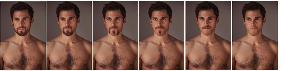 Comparación barba sin barba