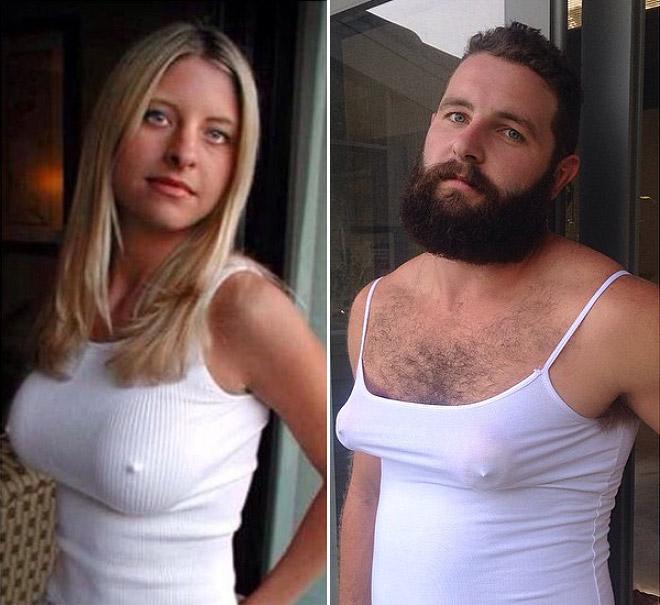 Hombre recrea fotos de mujeres en Tinder blusa