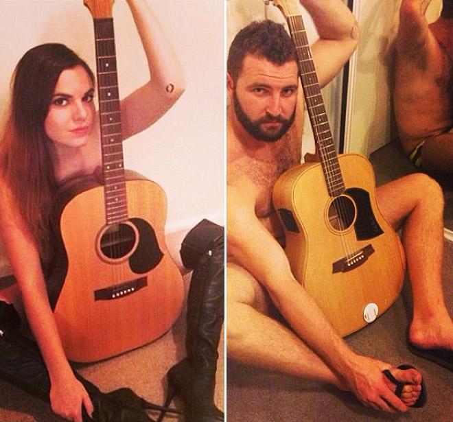 Hombre recrea fotos de mujeres en Tinder guitarra
