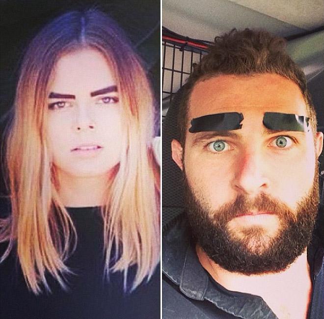 Hombre recrea fotos de mujeres en Tinder cejas