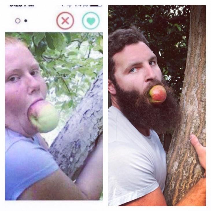 Hombre recrea fotos de mujeres en Tinder Manzana