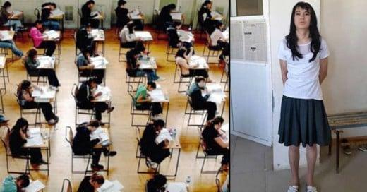 Este joven fue descubierto disfrazado de su novia para presentar los exámenes de ella