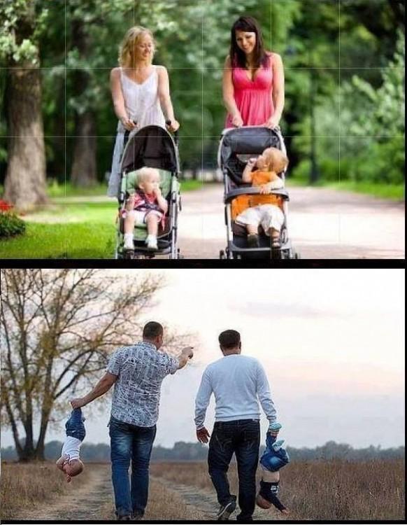 Diferencias entre mamá y papá cargando al bebé
