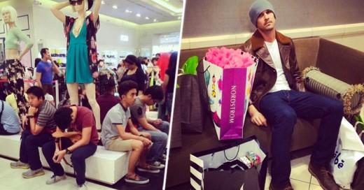 35 Fotos de hombres miserables que decidieron acompañar a su novia de compras