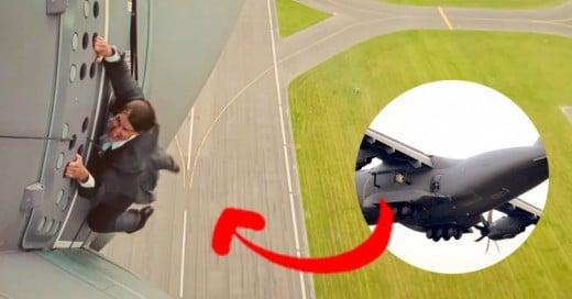 Tom Cruise no necesita doble de acción, se cuelga de un avión despegando para una escena