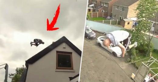 Hombre salta una casa de 2 plantas desde un columpio