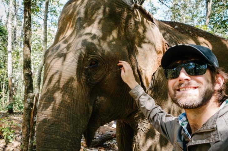 selfie con un elefante en safari