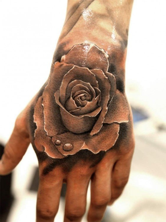 best-tattoo-ideas.net Black-and-White-Rose-on-Hand-Idea