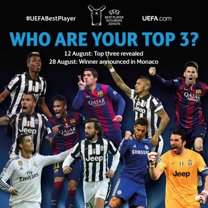 nominados al Premio al Mejor Jugador de Europa de la UEFA 2015