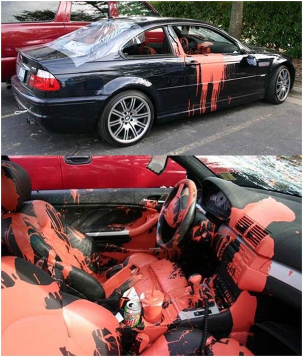 novio infiel le ponen pintura naranja en su carro bmw
