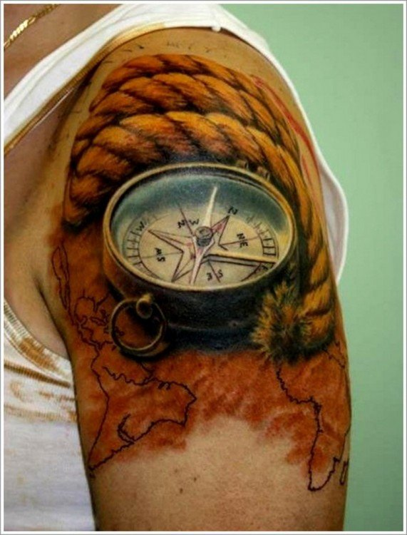 purotrend.com color-rope-and-3d-compass-tattoo-on-left-shoulder