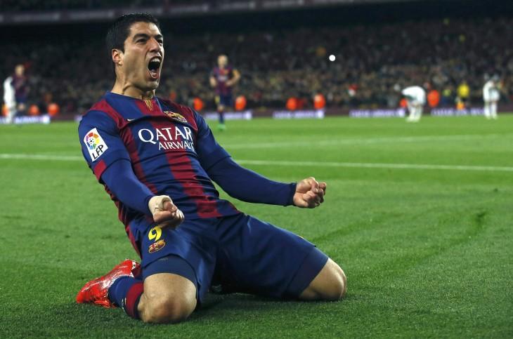 luis suarez barcelona celebrando gol liga de campeones
