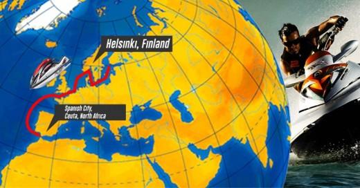 Varón viaja de Finlandia a África en Jet Ski porque su hijo le preguntó si era posible