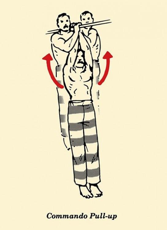 Ejercicios para prisioneros y macho alfa en espacios pequeños Dominadas comando