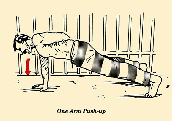 Ejercicios para prisioneros y macho alfa en espacios pequeños flexiones con un brazo