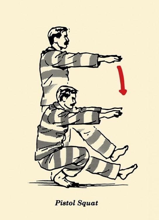 Ejercicios para prisioneros y macho alfa en espacios pequeños sentadillas pistola