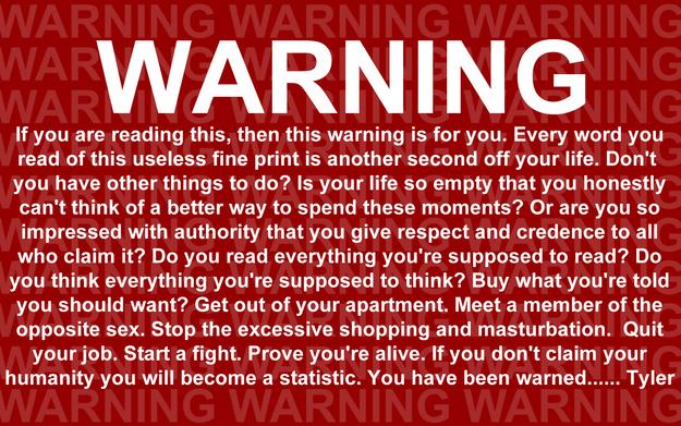 20 Cosas que probablemente no sabías de 'El club de la pelea' advertencia