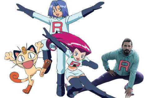 Así photoshopearon a Shia LaBeouf pokemon equipo rocket