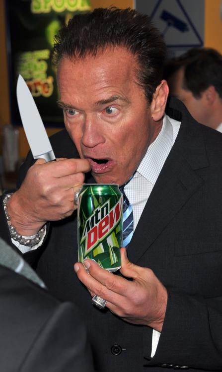 Photoshopean a Arnold Schwarzenegger comiendo un helado cuchillo