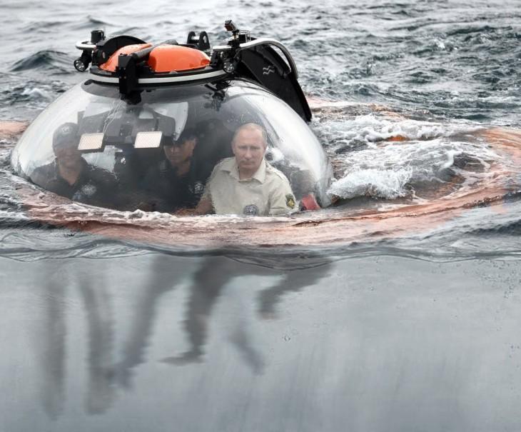 Internet trollea a Putin dentro de su batiscafo con una batalla de Photoshop pies bajo el agua