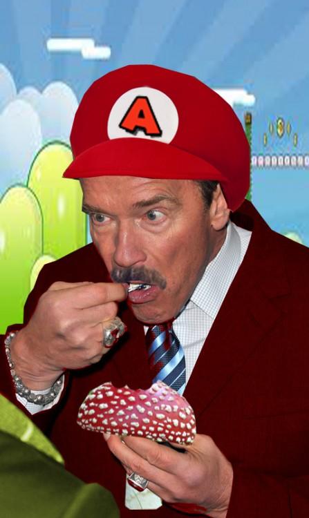 Photoshopean a Arnold Schwarzenegger comiendo un helado Mario