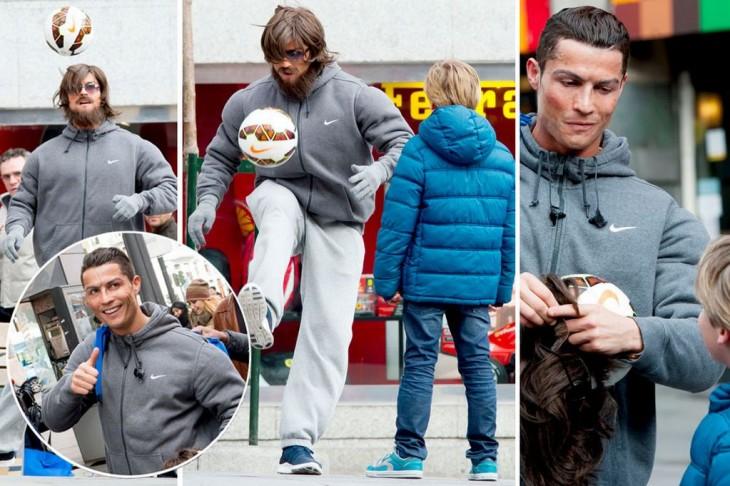Cristiano Ronaldo se hace pasar por vagabundo
