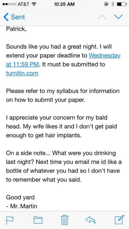 respuesta de maestro a mail de estudiante borracho