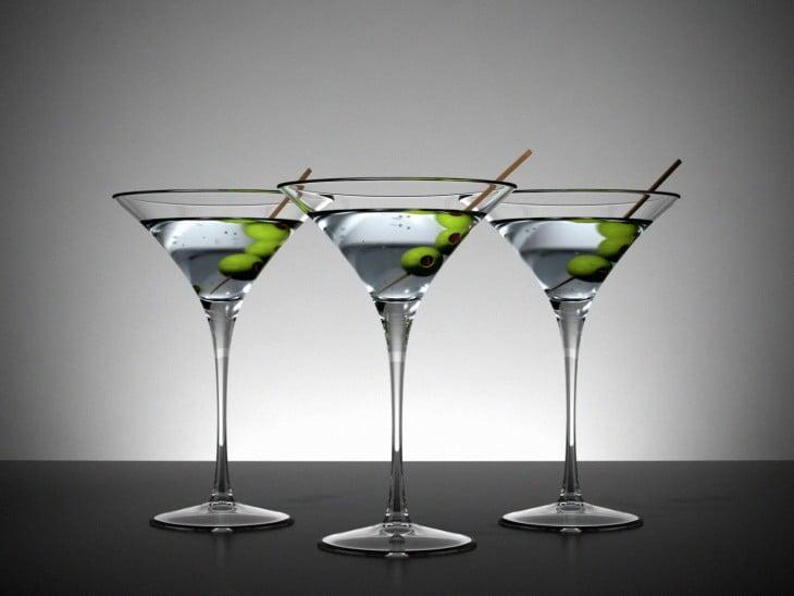tres copas de martini