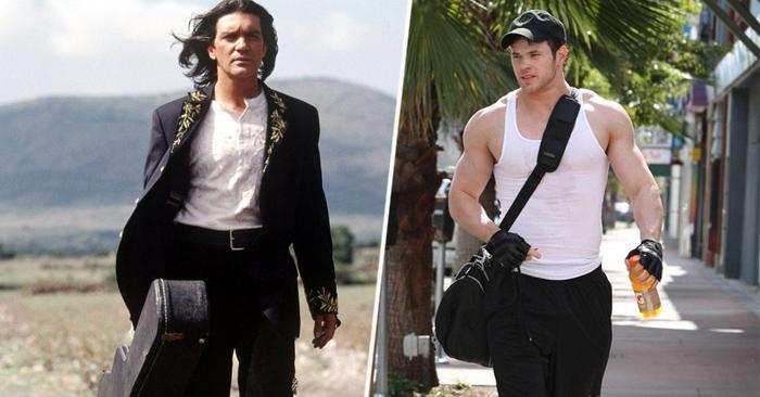 hombre con guitarra y hombre con mochila deportiva