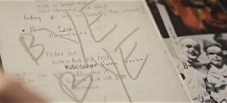 Diario de Heath Ledger donde escribe bye bye