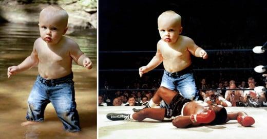 Photoshopean en Reddit a bebé en un río y el resultado es brillante!