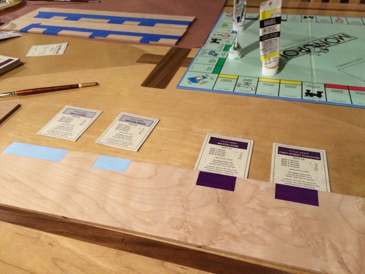 tabla y tarjetas para monopoly