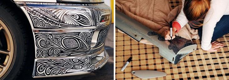 novia pinta Nissan Skyline GTR paso 3