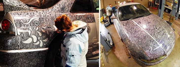 novia pinta Nissan Skyline GTR paso 4