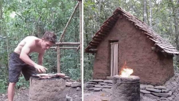 Hombre construye casa con objetos naturales