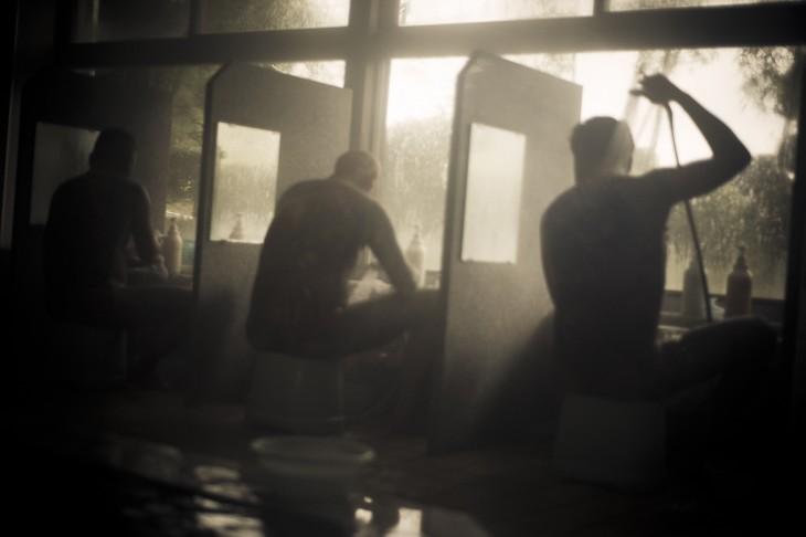 miembros yakuza bañándose