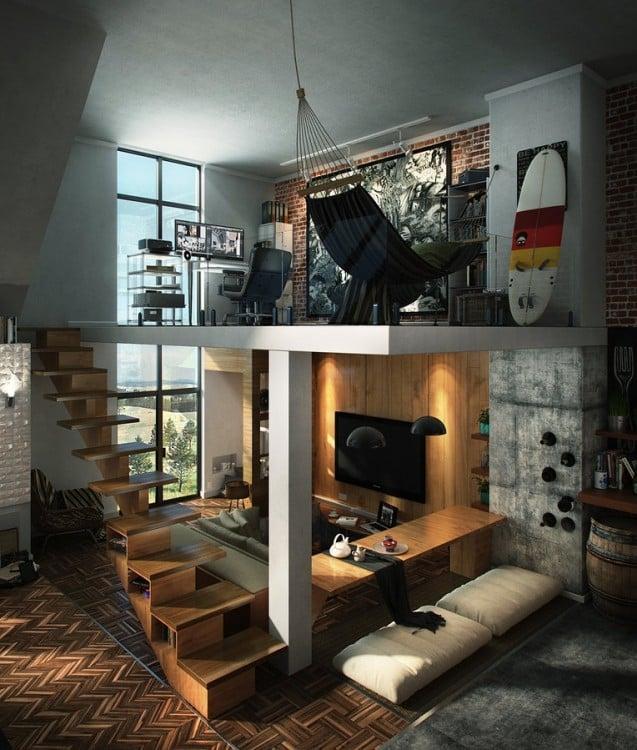 Casa minimalista con sala con recámara arriba y hamaca