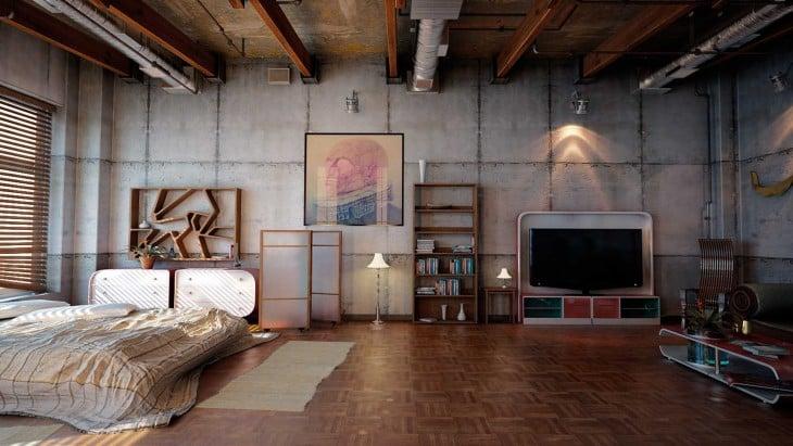 Cuarto espacioso con televisión