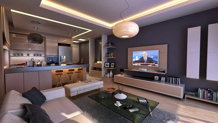 Sala con televisión y cantina